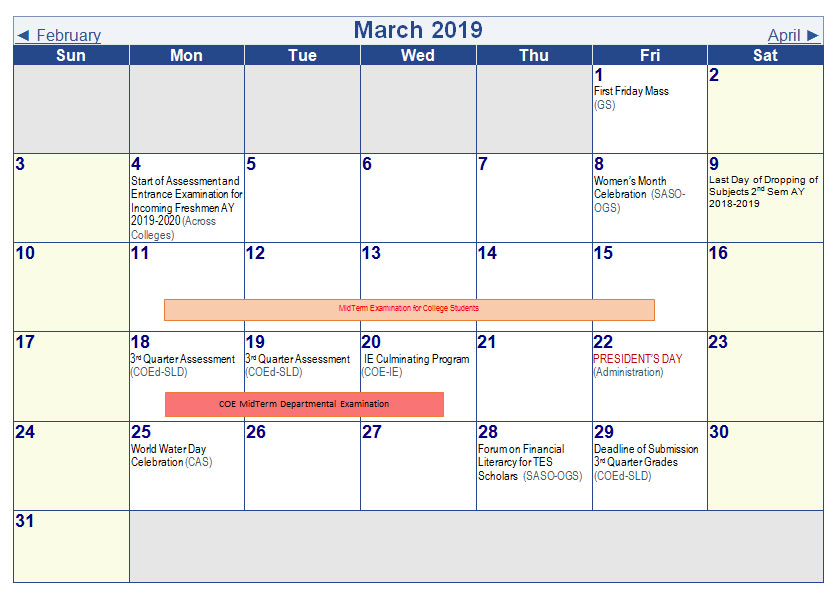 University Academic Calendar (A Y  2018-2019)
