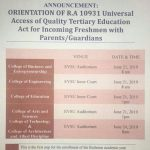 Orientation of R.A. 10931 Universal Access of Quality Tertiary Education Act and Enrolment Schedule