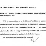 The deadline of the submission of grades for graduating students is moved to June 5, 2019