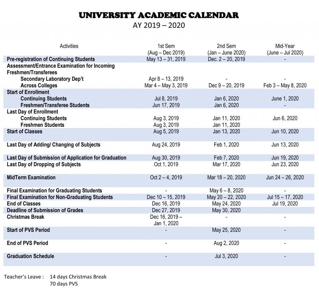 Calendar of Activities - AY 2019-2020