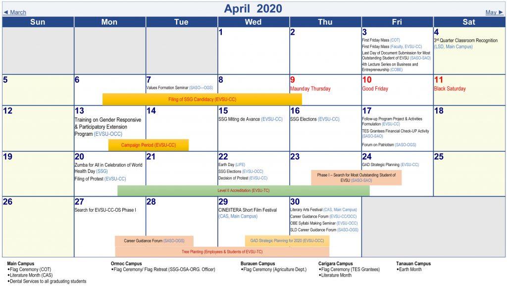 Calendar of Activities - AY 2019-2020 - April 2020