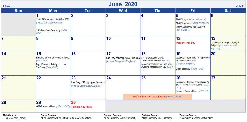Calendar of Activities - AY 2019-2020 - June 2020
