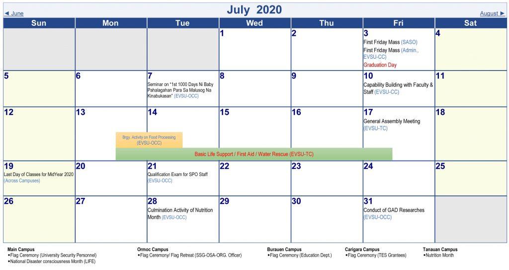 Calendar of Activities - AY 2019-2020 - July 2020