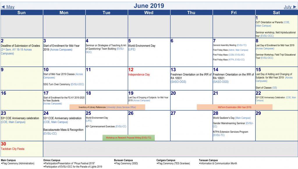 Calendar of Activities - AY 2019-2020 - June 2019