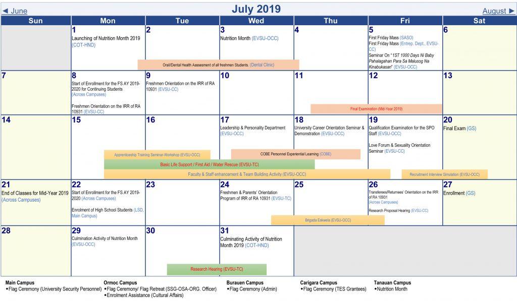 Calendar of Activities - AY 2019-2020 - July 2019