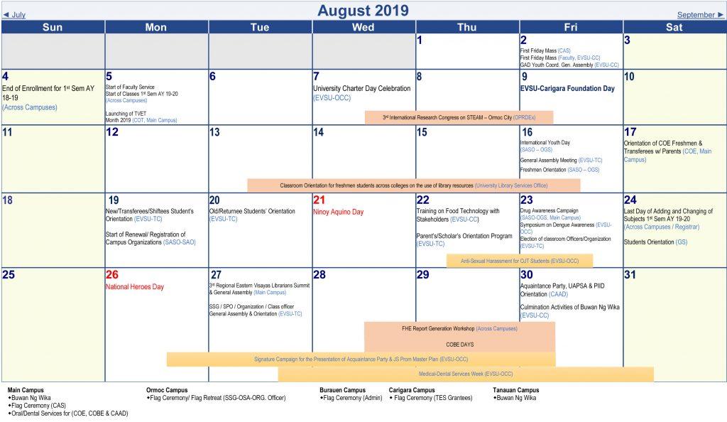 Calendar of Activities - AY 2019-2020 - August 2019