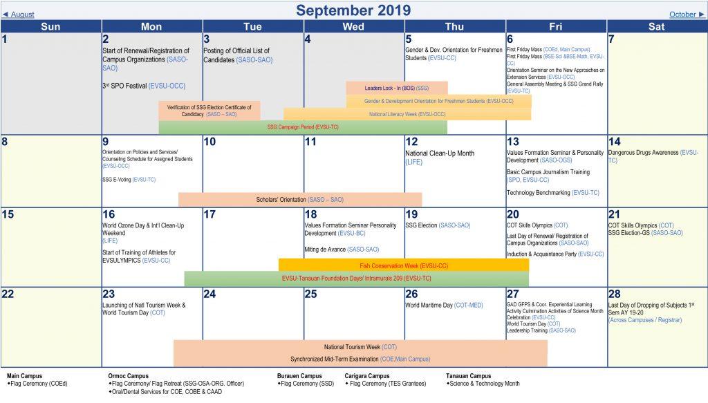 Calendar of Activities - AY 2019-2020 - September 2019