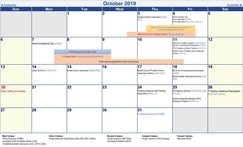 Calendar of Activities - AY 2019-2020 - October 2019