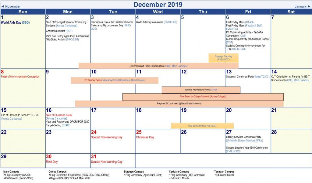 Calendar of Activities - AY 2019-2020 - December 2019