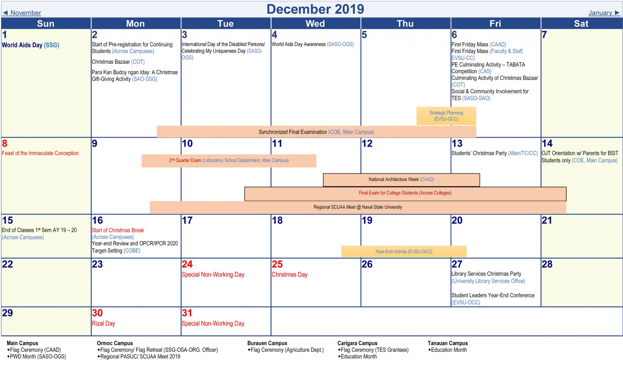 University Academic Calendar A Y 2019 2020