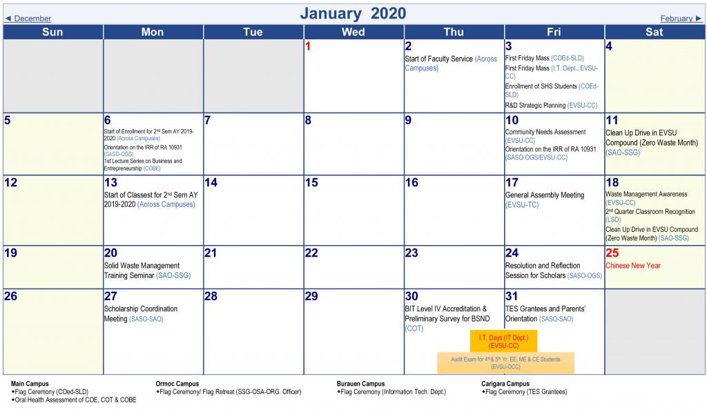 Calendar of Activities - AY 2019-2020 - January 2020