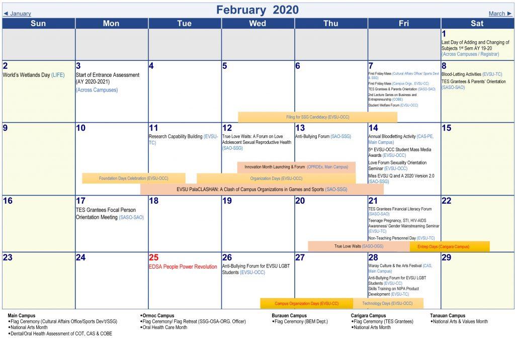 Calendar of Activities - AY 2019-2020 - February 2020