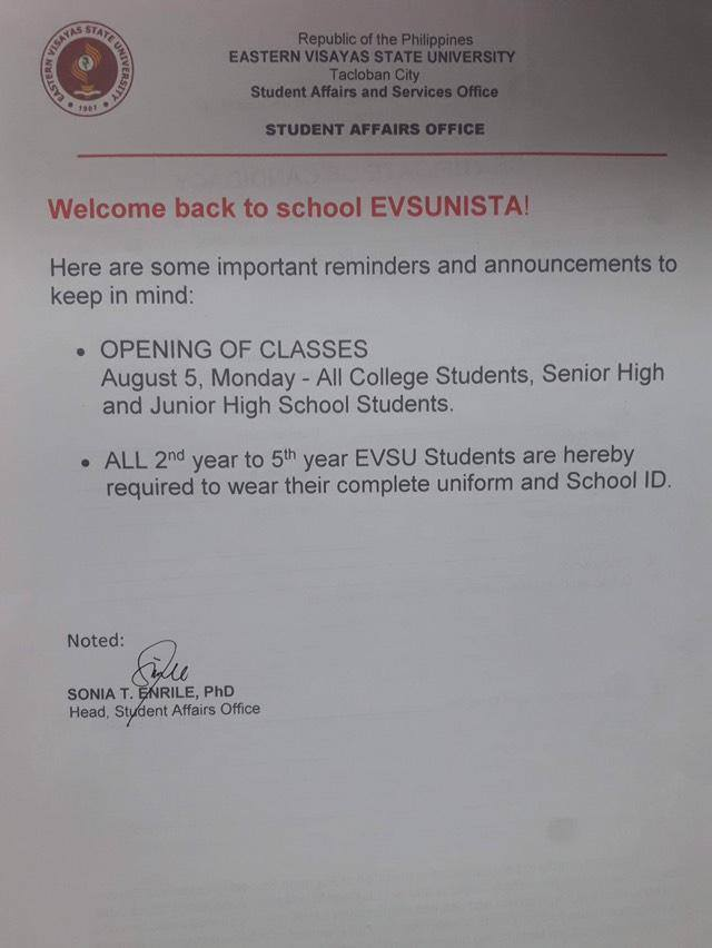 Opening of Classes for SY 2019-2020