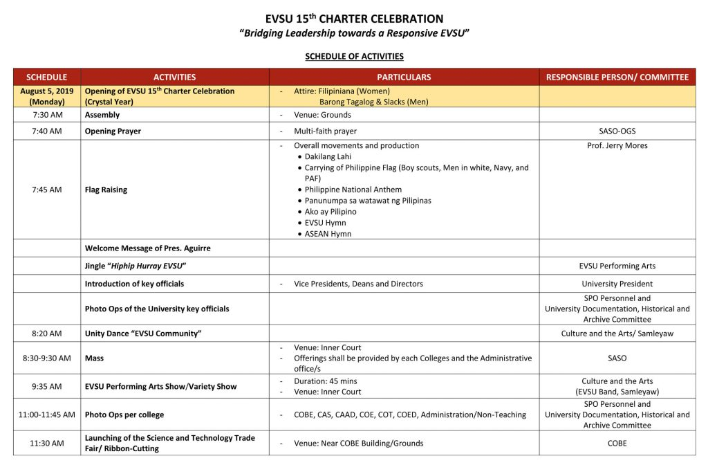 EVSU 15th Charter Celebration - Schedule of Activities - Page 1