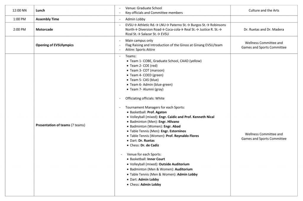 EVSU 15th Charter Celebration - Schedule of Activities - Page 2