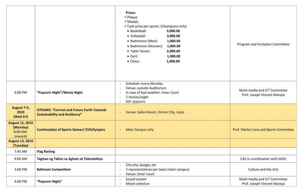 EVSU 15th Charter Celebration - Schedule of Activities - Page 3
