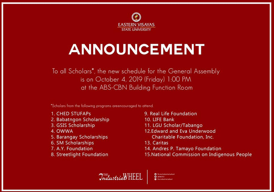 New schedule for the Scholars' General Assembly