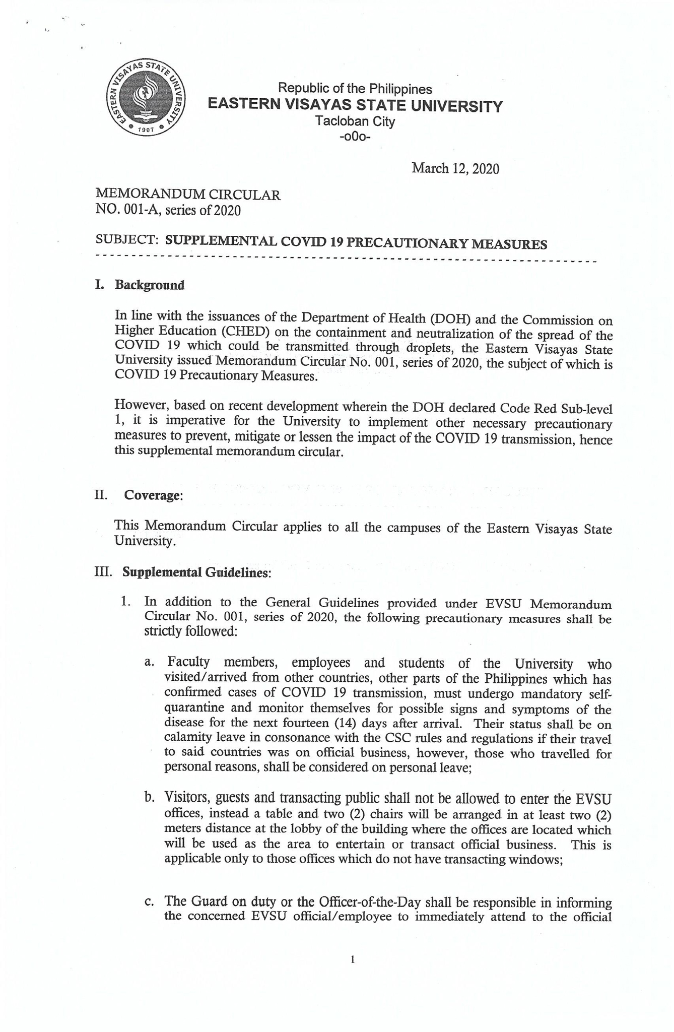 Memorandum Circular No. 001-A, S. 2020 (Supplemental COVID-19 Precautionary Measures)